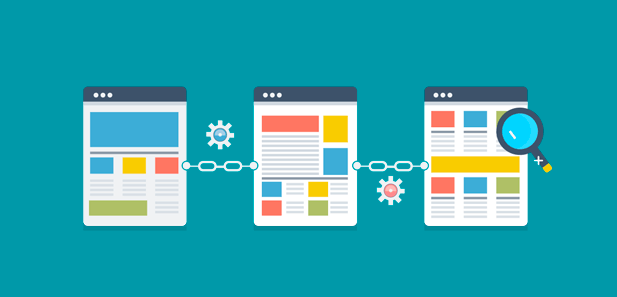 webpages linked together representing link building