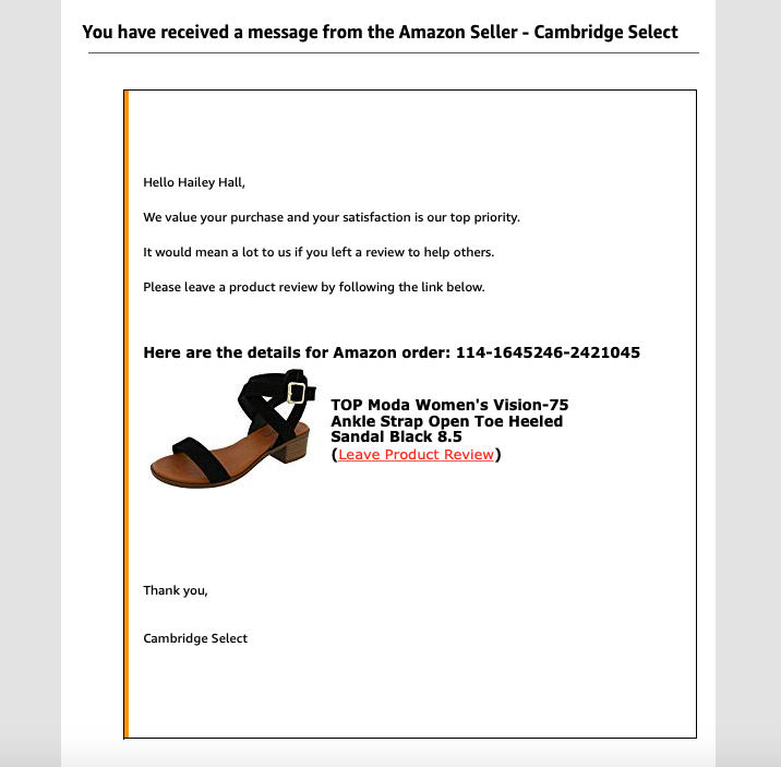 An example of an email I received from an Amazon seller after making a purchase.