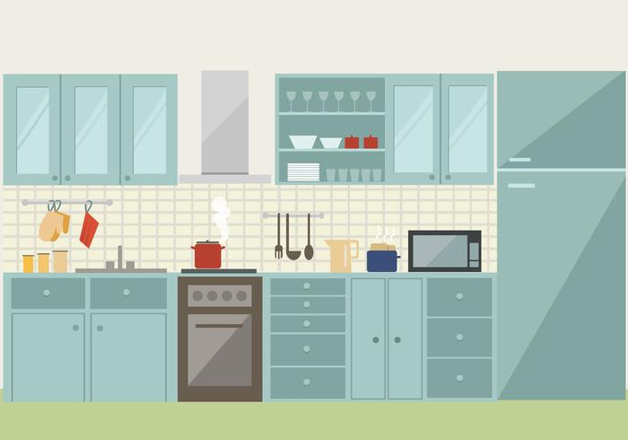 open kitchen, created on illustrator