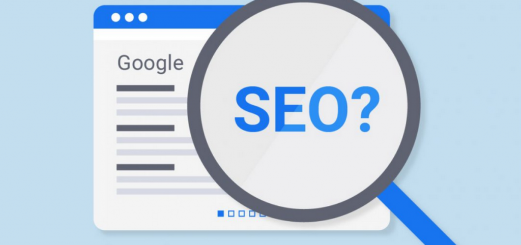 SEO word inside magnifying glass